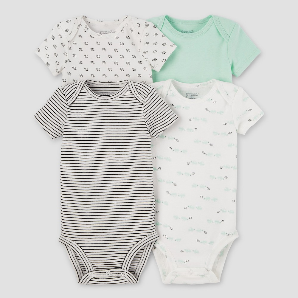 Baby 4pk Bodysuits Mint Pre - Precious Firsts Made by Carters, Infant Unisex, Size: Preemie, Green