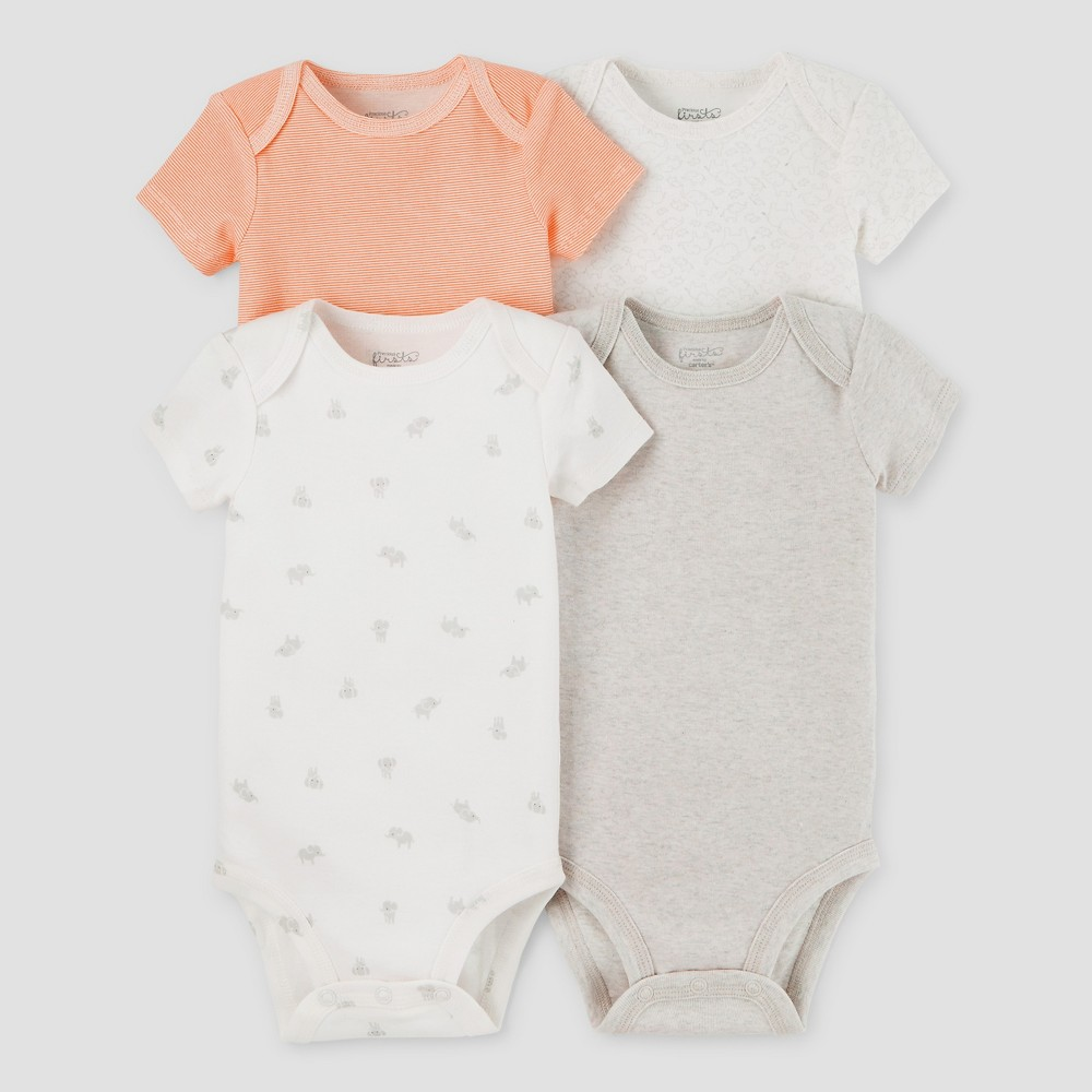 Baby 4pk Bodysuits Light Gray/Orange 6M - Precious Firsts Made by Carters, Infant Unisex, Size: 6 M