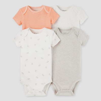Baby 4pk Bodysuits Light Gray/Orange NB - Precious Firsts™ Made by Carter's®