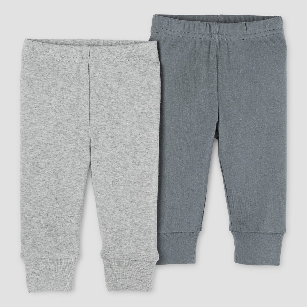Baby Boys 2pk Pants Light Gray/Dark Gray NB - Precious Firsts Made by Carters