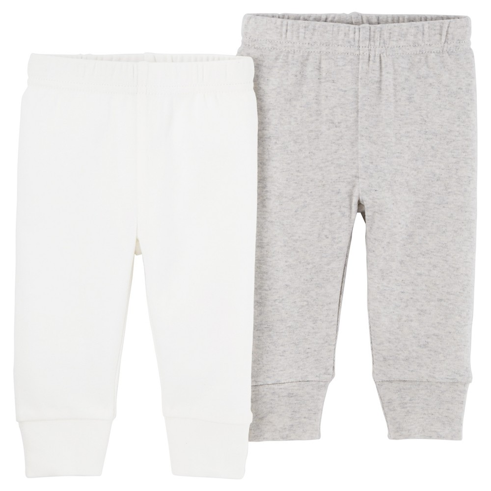 Baby 2pk Pants Light Gray/White Pre - Precious Firsts Made by Carters, Infant Unisex, Size: Preemie