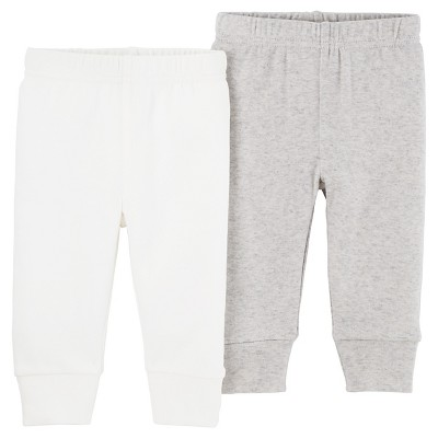Baby 2pk Pants Light Gray/White 9M - Precious Firsts™ Made by Carter's®