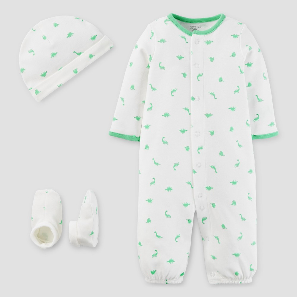 Baby Boys 3 Piece Converter Gown Set Green NB - Precious Firsts Made by Carters, White