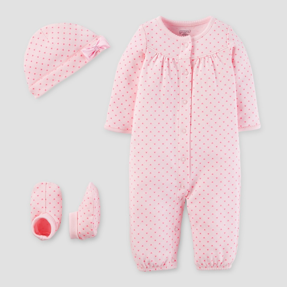 Baby Girls 3 Piece Converter Gown Set Blush NB - Precious Firsts Made by Carters, Pink