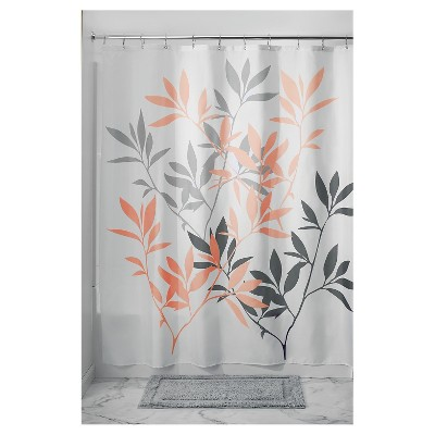 Shower Curtain Interdesign Leaf Gray Coral