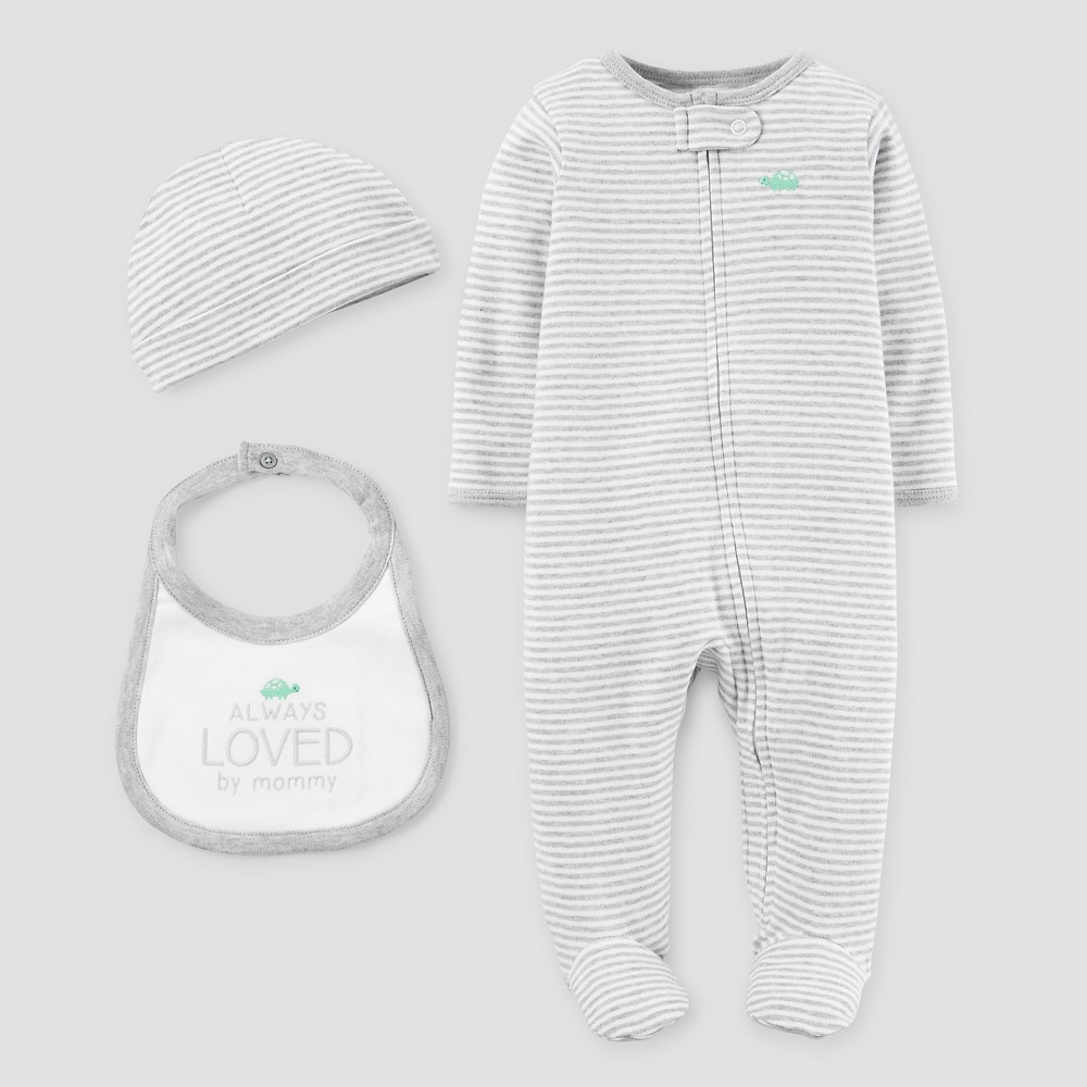 Baby Boys 3 Piece Snp Set Light Gray 3M - Precious Firsts Made by Carters, Size: 3 M, White
