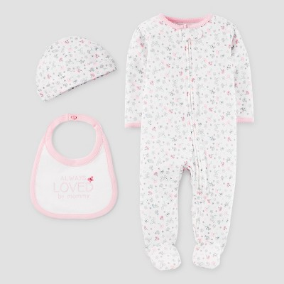 Baby Girls' 3 Piece SNP Set Light Pink/White NB - Precious Firsts™ Made by Carter's®