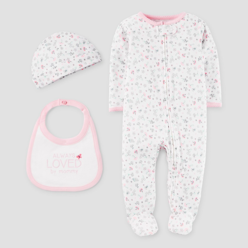Baby Girls 3 Piece Snp Set Light Pink/White NB - Precious Firsts Made by Carters