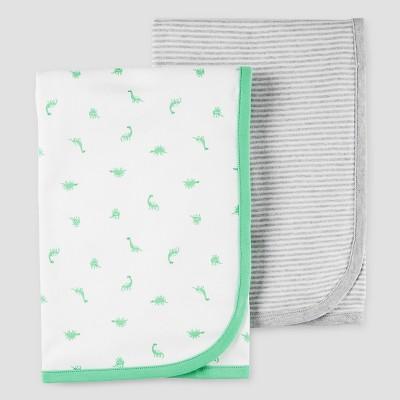 Baby Boys' 2pk Dinosaur Blanket Set White OSZ - Precious Firsts™ Made by Carter's®