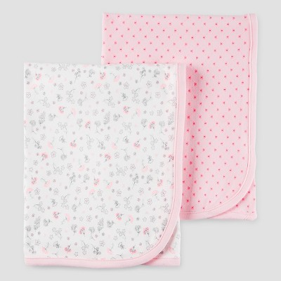 Baby Girls' 2pk Floral Blanket Set Rose OSZ - Precious Firsts™ Made by Carter's®