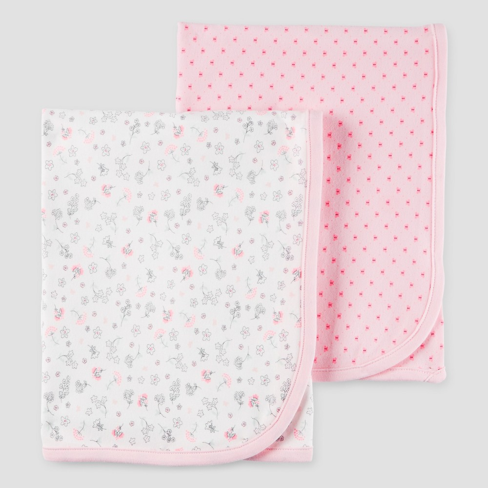 Image of Baby Girls' 2pk Floral Blanket Set Rose Osz - Precious Firsts Made by Carter's, Remember Rose Opaque