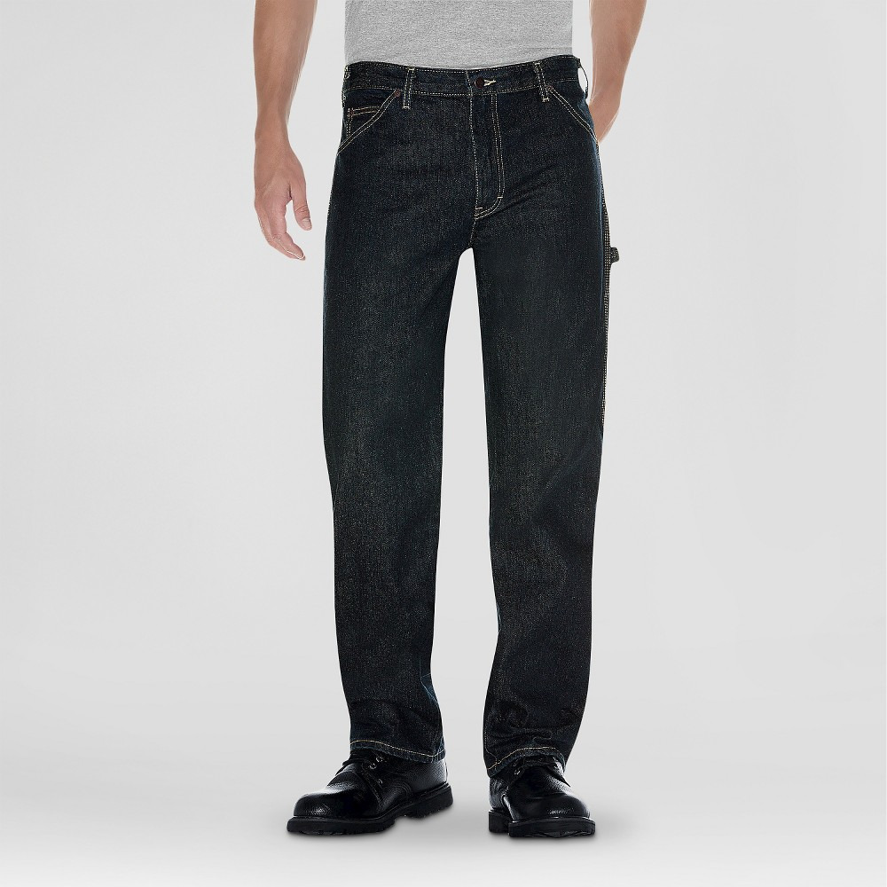 Dickies Mens Relaxed Straight Fit Denim Carpenter Jean- Khaki Tint 34X30
