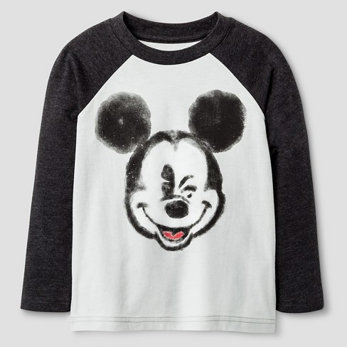 Toddler Boys' Disney Mickey Mouse Long Sleeve T-Shirt - Silver - image 1 of 1