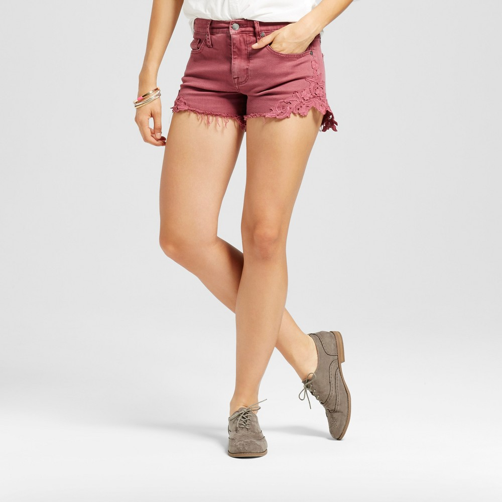 Womens High-rise Shorts with Lace Hem - Mossimo Berry 18, Pink