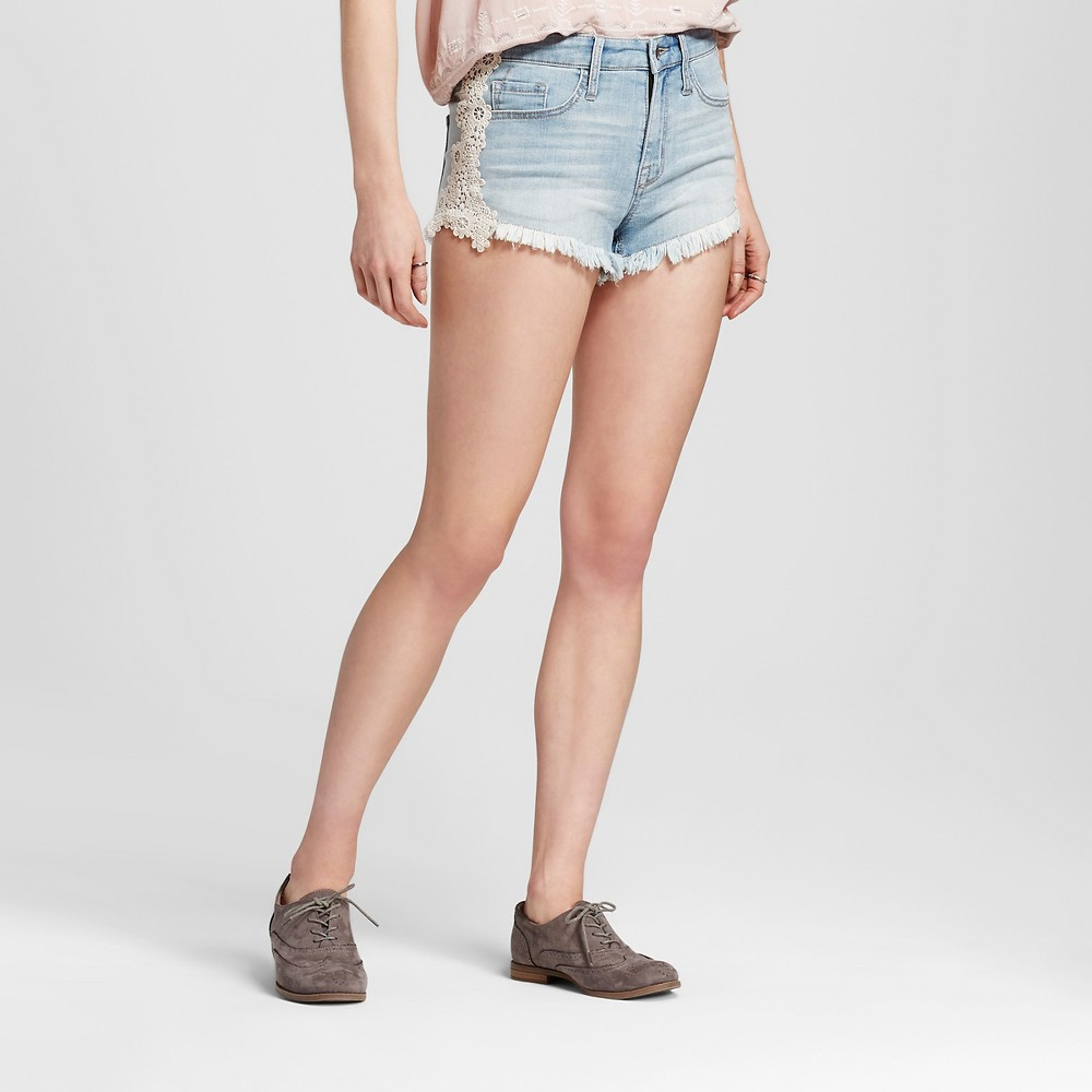 Womens High-rise Shorts with Lace - Mossimo Light Wash 00, Blue