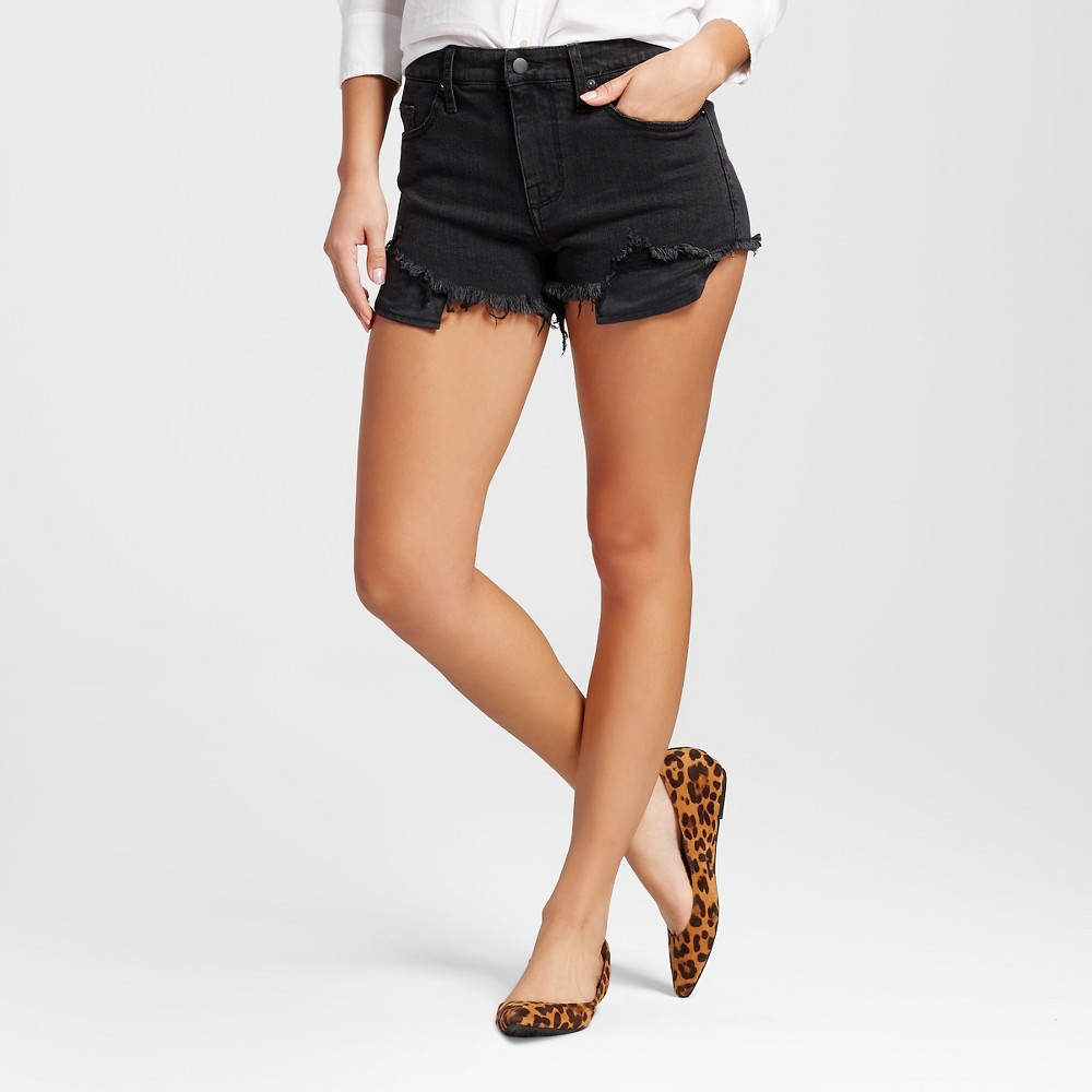 Womens High-rise Shorts with Raw Hem - Mossimo Black 16