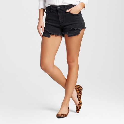 Women's High-rise Shorts with Raw Hem Black - Mossimo