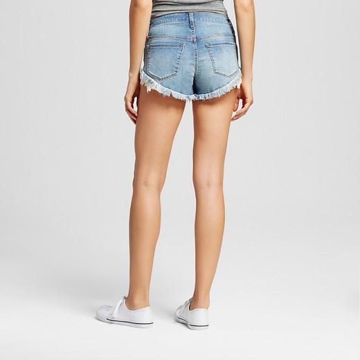 Women's High-rise Shorts with Crochet Raw Hem Medium Wash ...