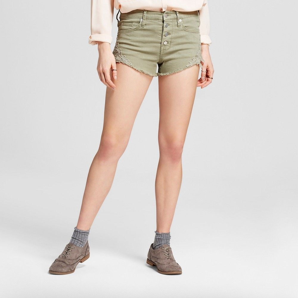 Women's High-rise Shorts - Mossimo Destroyed Sage 16, Green