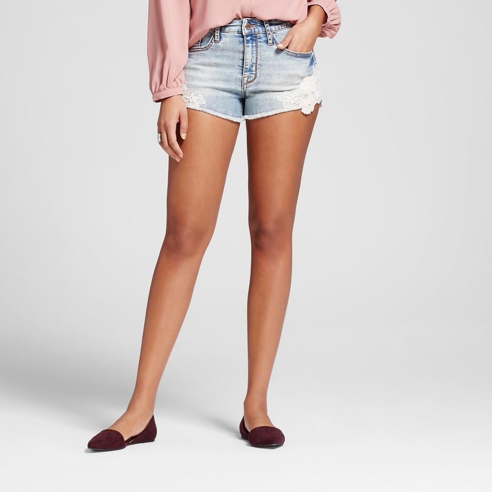 Womens High-rise Shorts with Crochet Hem - Mossimo Light Wash 18, Blue
