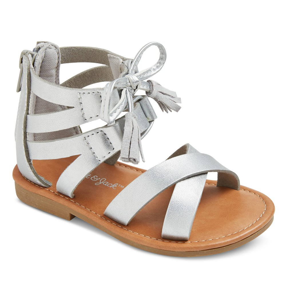 Toddler Girls Paulina Two Piece Ghillie Slide Sandals Cat & Jack - Silver 5