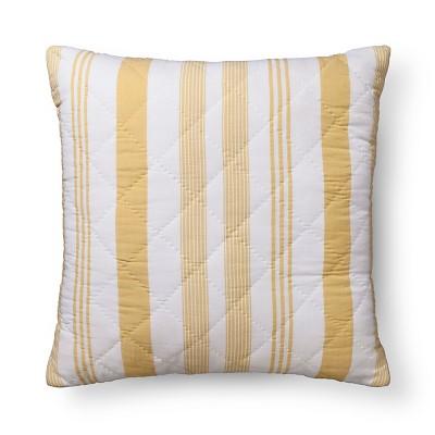 Stripes Euro Throw Pillow (26 x26 )Yellow - Pillowfort™