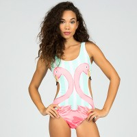 Women's Striped Flamingo One Piece Swimsuit - Sugar Coast by Lolli. opens in a new tab.