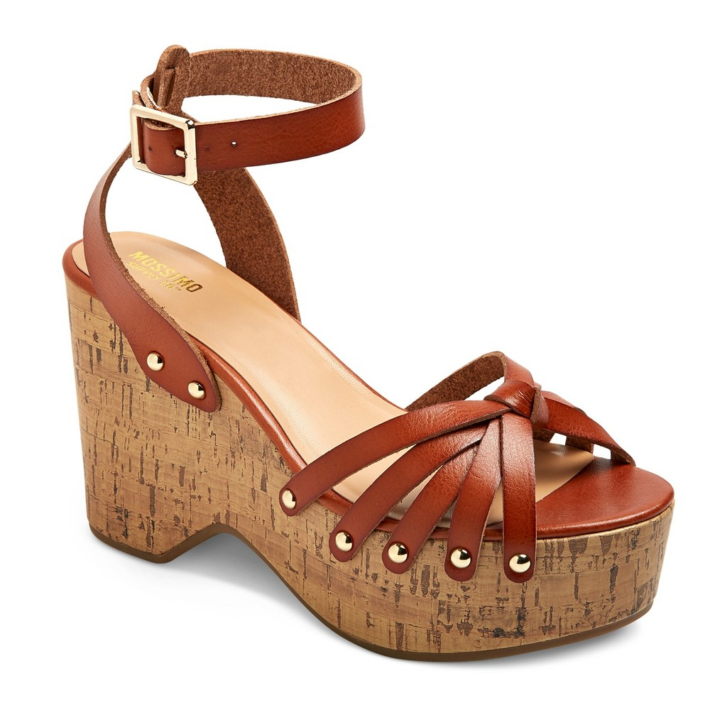 Womens Erie Cork Flat form Wedge Sandals - Mossimo Supply Co. Cognac 5.5, Brown