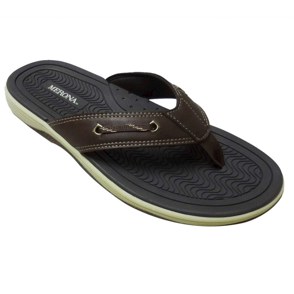 Mens Jayce Flip Flop Sandals Brown S - Merona