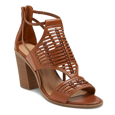 978837a424a1 Womens Kerina Leather Braided Heeled Huarache Sandals - Merona™ Cognac 5.5