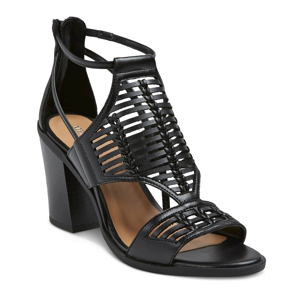 Womens Kerina Leather Braided Heeled Huarache Sandals - Merona Black 6