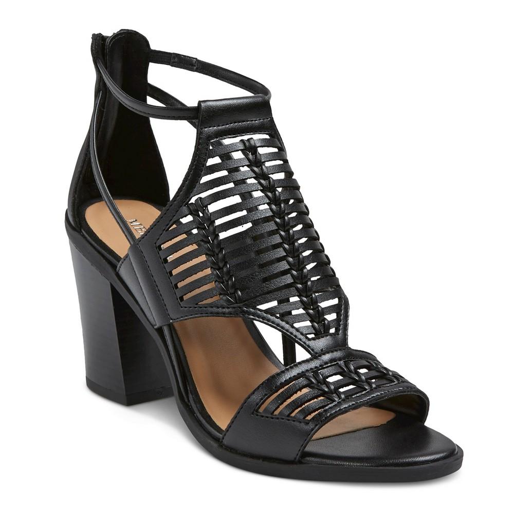 Womens Kerina Leather Braided Heeled Huarache Sandals - Merona Black 7