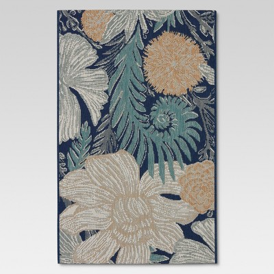 8'x10' Outdoor Rug - Woodcut Floral - Threshold™