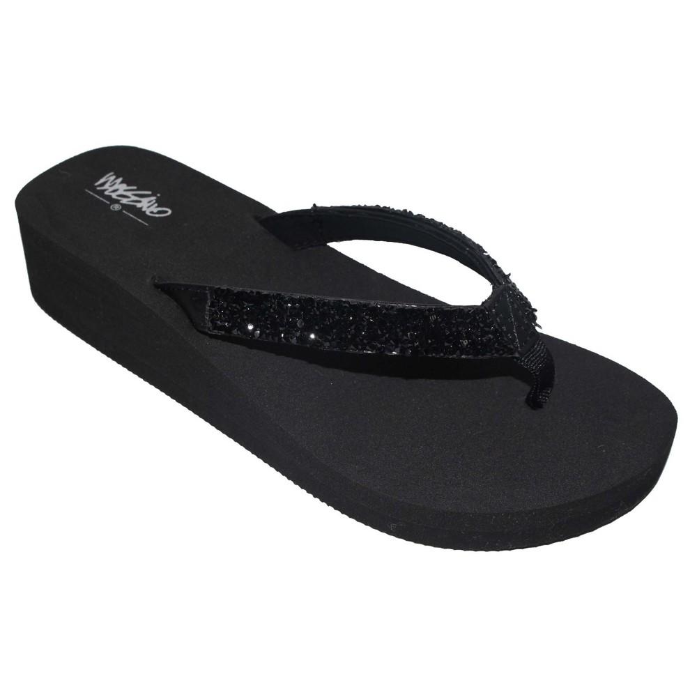 Womens Lanette Rhinestone Detail Wedge Flip Flop Sandals Mossimo - Black 7
