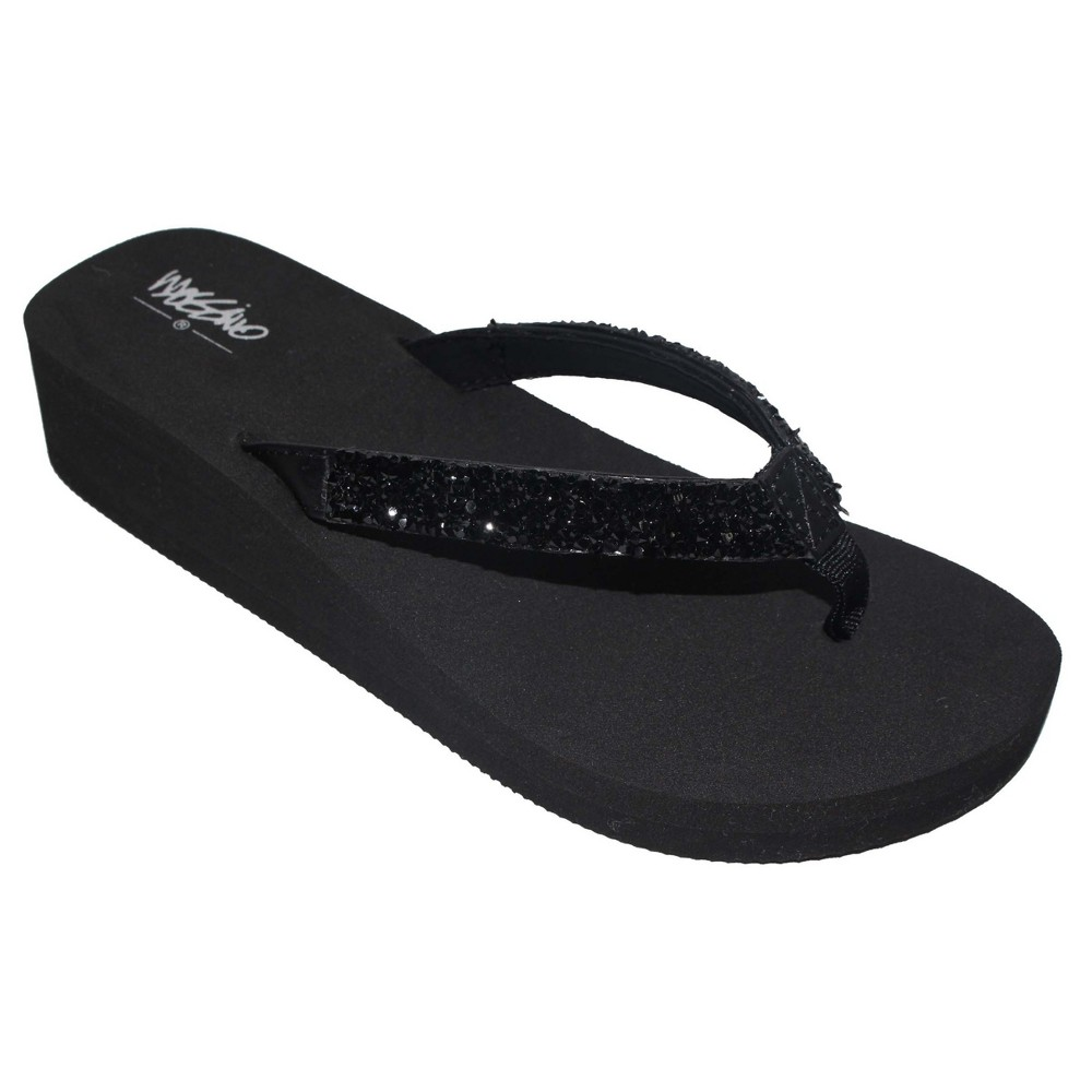 Womens Lanette Rhinestone Detail Wedge Flip Flop Sandals Mossimo - Black 8