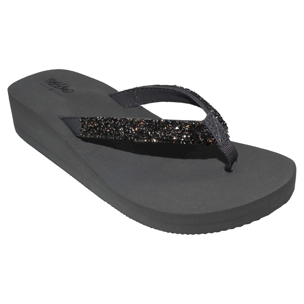 Womens Lanette Rhinestone Detail Wedge Flip Flop Sandals Mossimo - Gray 11