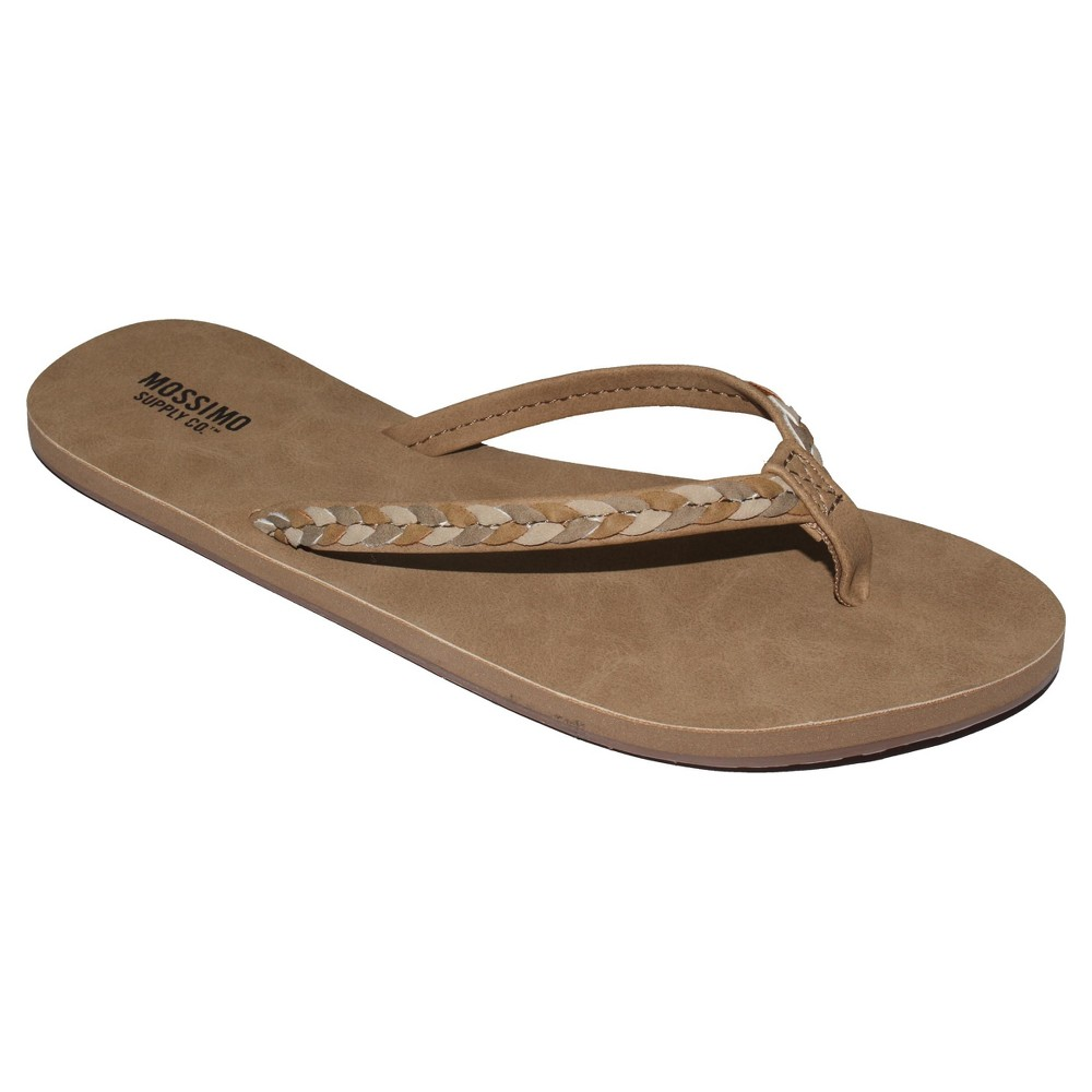Womens Lissie Braided Straps Flip Flop Sandals - Mossimo Supply Co. Tan 7