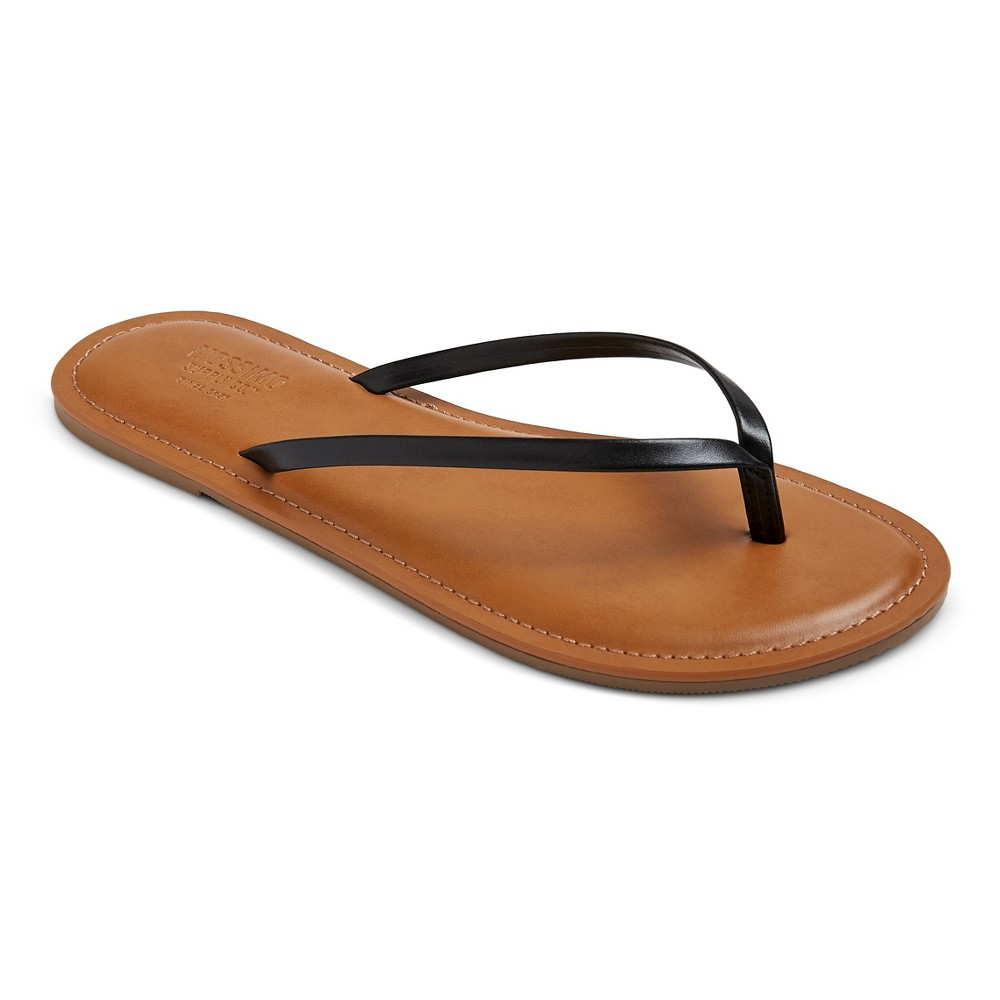 Womens Rowen Flip Flop Sandals - Mossimo Supply Co. Black M, Size: 7