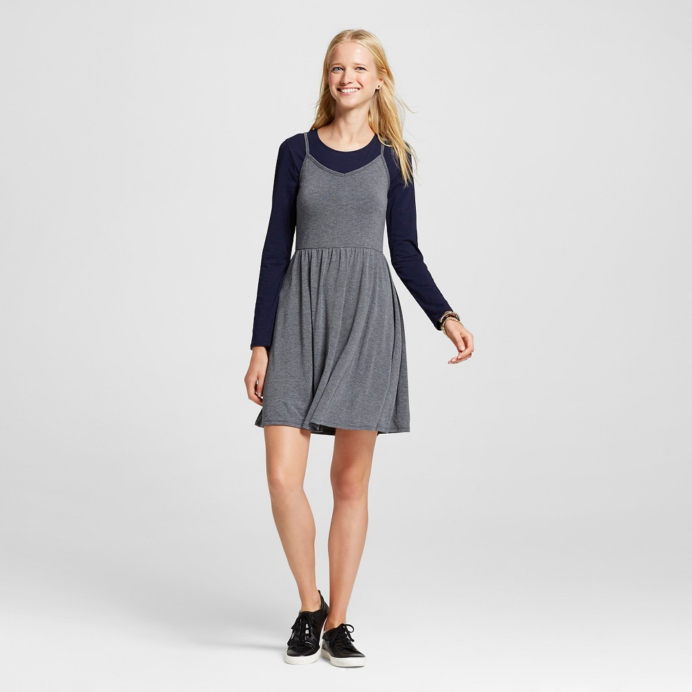 Women's Knit Swing Skater Dress Gray L - Mossimo Supply Co.
