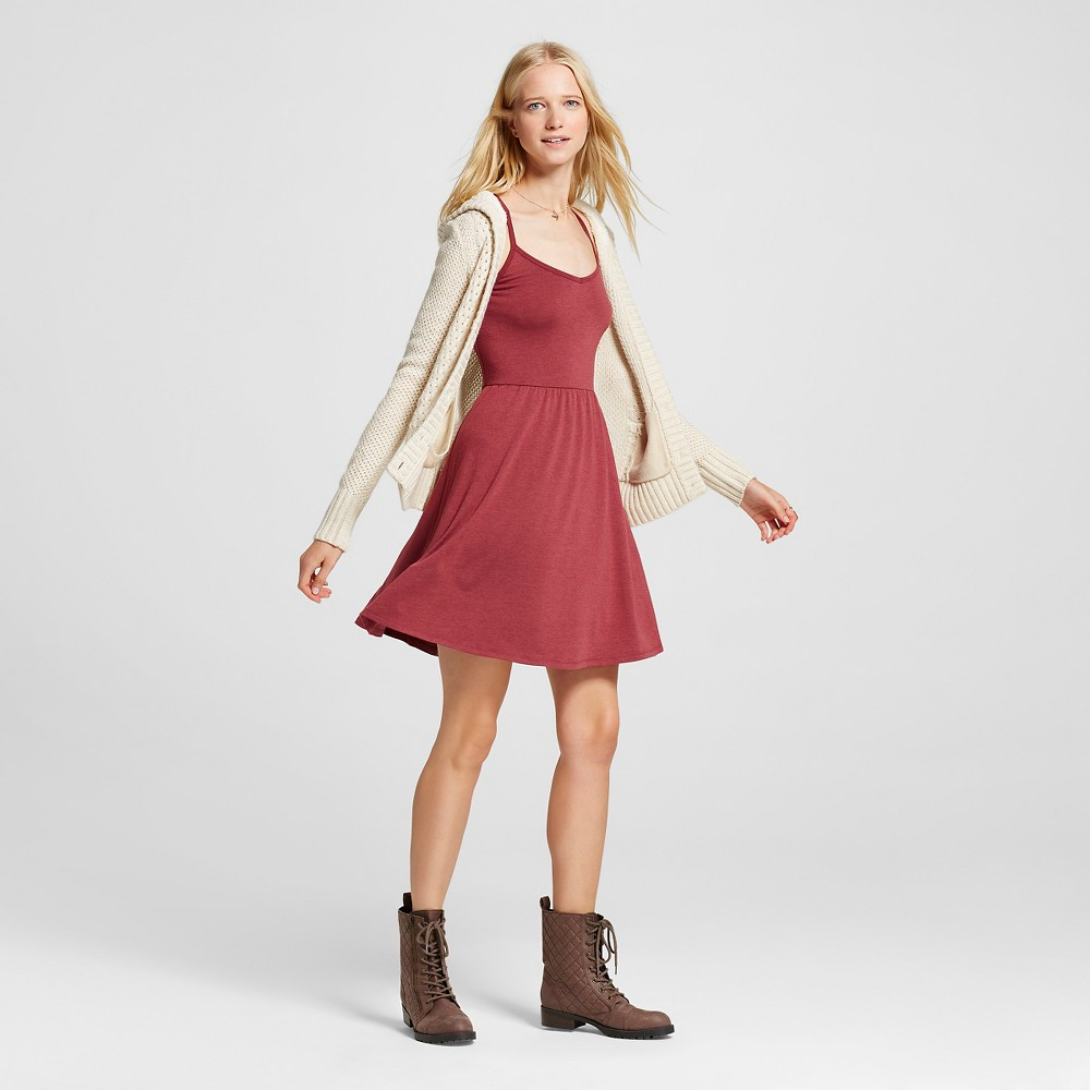 Womens Knit Swing Skater Dress Burgundy (Red) L - Mossimo Supply Co.