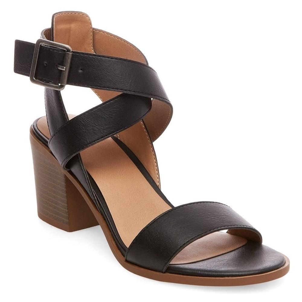 Womens Lindsay Criss Cross Heeled Quarter Straps Sandals - Merona Black 5.5