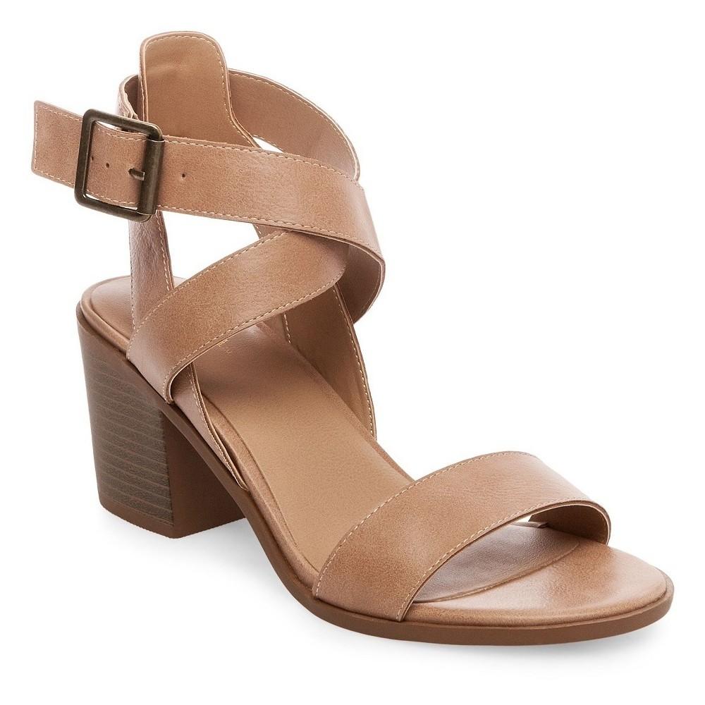 Womens Lindsay Criss Cross Heeled Quarter Straps Sandals - Merona Taupe (Brown) 8