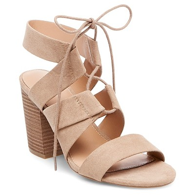 e636d989fc2a7 Womens Harriet Lace Up Heeled Quarter Strap Sandals – Merona™ Taupe ...
