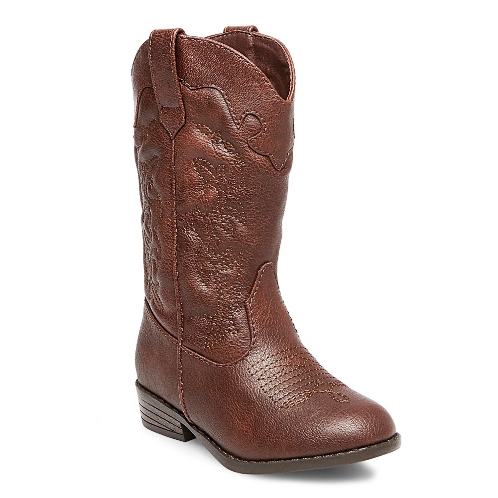Toddler Girls Natalia Authentic Cowboy Western Boots Cat & Jack - Brown 7
