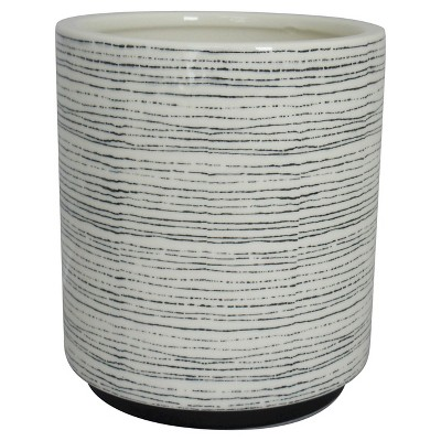 7.5  Round Striped Ceramic Planter, Black & White - Threshold™