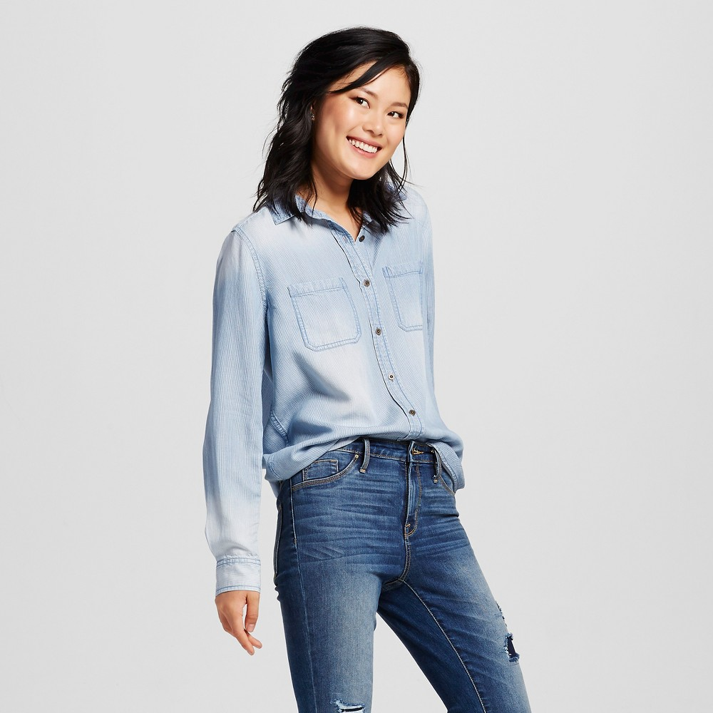 Womens Denim Shirt Medium Wash XS - Mossimo Supply Co. (Juniors), Blue