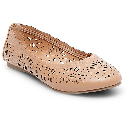 Women's Darlene Laser Cut Round Toe Ballet Flats Mossimo Supply Co. - Tan 6.5