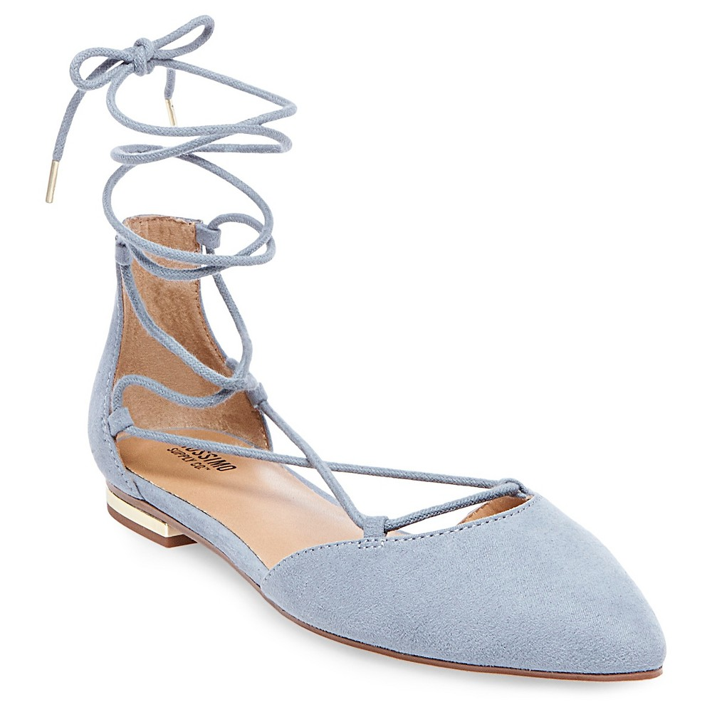 Womens Gretel dOrsay Ghillie Pointed Toe Lace Up Ballet Flats - Mossimo Supply Co. Blue 5.5