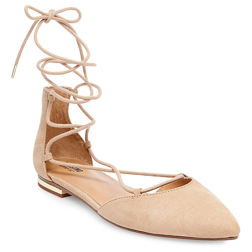 Womens Gretel dOrsay Ghillie Pointed Toe Lace Up Ballet Flats - Mossimo Supply Co. Taupe (Brown) 8.5