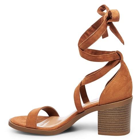 4296fbecefd2 Women s Matilda Lace Up Heeled Ankle Strap Sandals - Merona™ Cognac 5.5    Target